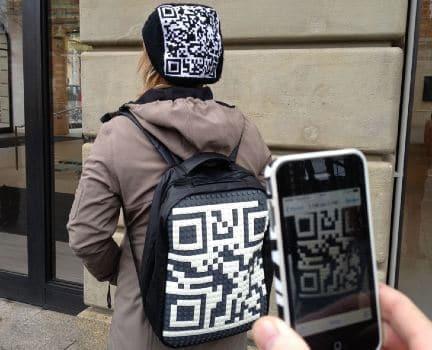 qr code on a bag